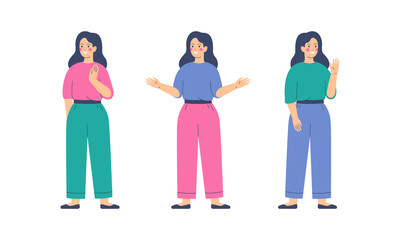 Friendly Girls is greeting gesture. Young woman waving hand and saying hello or goodbye. Flat vector illustration