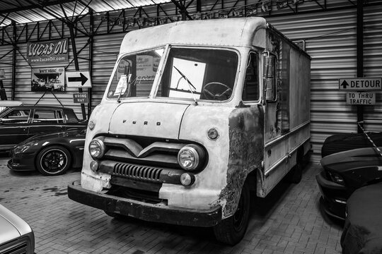 BERLIN - APRIL 27, 2019: Light-duty truck Ford Step Van P-350, 1962. Black and white.