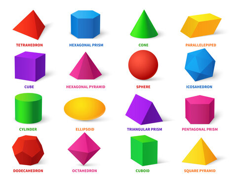 Color basic shapes. Realistic 3d geometric forms cube and ellipsoid, cylinder and sphere, cone and pyramid, learning objects vector set