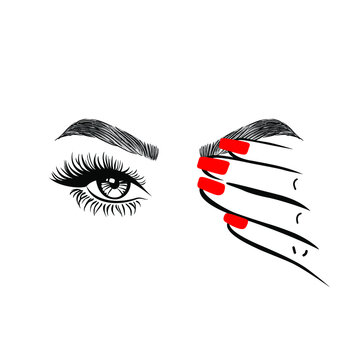 Woman hand with red manicure nails closing one eye, eyelashes mascara, perfect shape brows, logo beauty salon, hand drawn style, vector illustration.