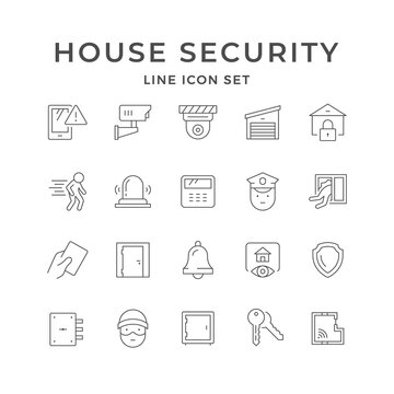 Set line icons of house security