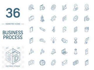 Isometric line art icon set. Vector illustration with business, management symbols. Marketing research, strategy, service, career, mission, analytic pictogram. 3d technical drawing. Editable stroke