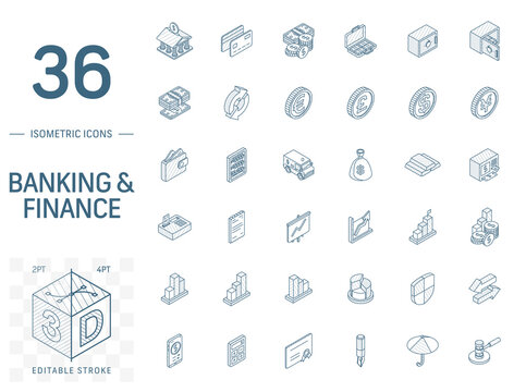 Isometric line art icon set. Vector illustration with banking, finance symbols. Credit card, cash in wallet, coin, safe, money bag, dollar, euro, pound pictogram. 3d technical drawing. Editable stroke