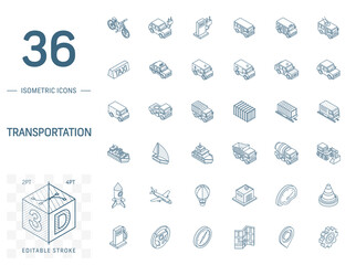 Isometric line art icon set. Vector illustration with transport, transportation symbols. Police car, train, yacht, taxi, bicycle and truck pictogram. 3d technical drawing. Editable stroke