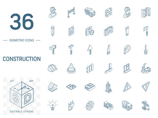 Isometric line art icon set. Vector illustration with construction, industrial, architectural, engineering symbols. Home repair tools, worker, building pictogram. 3d technical drawing. Editable stroke
