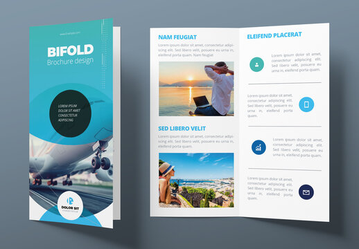 Blue Bifold Brochure Layout with Abstract Circles