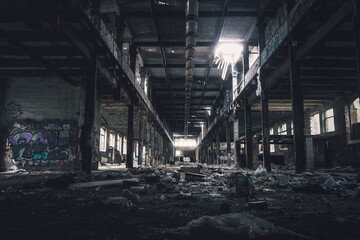 Autocollant pour porte Les vieux bâtiments abandonnés old abandoned factory in Leipzig