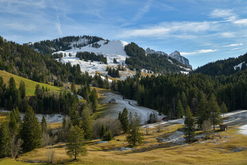 Wall Mural - Beautiful view on Hochstuckli peak covered by first snow as seen from Mostel above Sattel