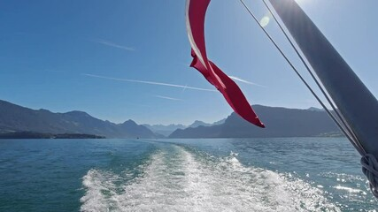 Wall Mural - Cruising on ship on Lake Lucerne with beautiful views on Swiss Alps in background