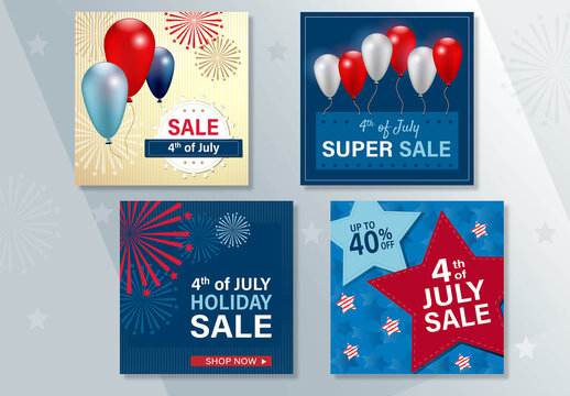 July 4th Sale Social Media Post Layout Set