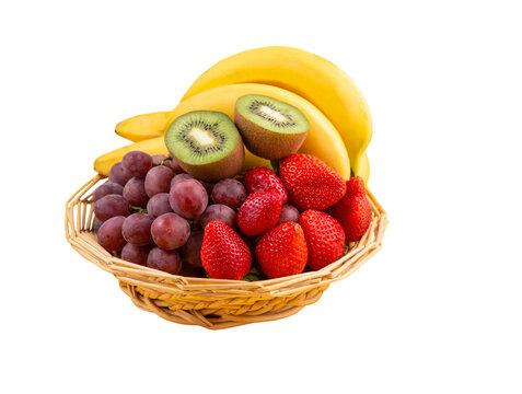 fruit in a basket Save with clipping path.