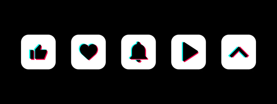 TikTok Button Set. Duotone. Swipe. Like. Play Button. Subscribe Bell Button. Social Media Vector Illustration On Black Background