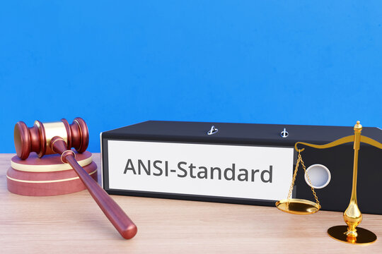 ANSI-Standard – File Folder with labeling, gavel and libra – law, judgement, lawyer