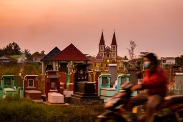 Tropical sunset near Saigon Vietnam