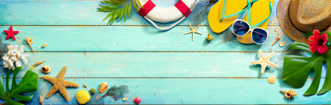 Beach Accessories On Mint Green Plank - Summer Background