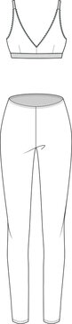 Bra and legging flat sketch. Apparel template