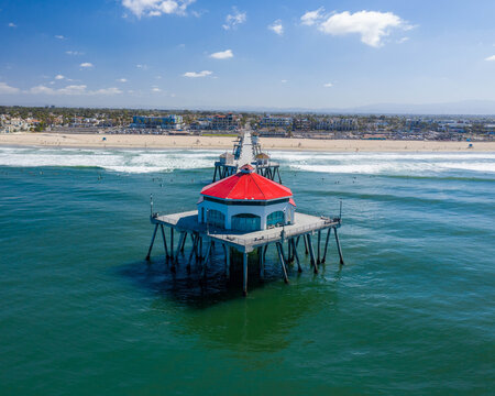 Huntington Beach Pier view from over the Ocean