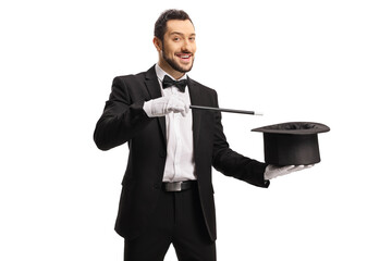 Magician performing a hat-trick with a magic wand