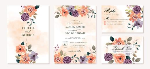 wedding invitation set with beautiful purple orange flower watercolor