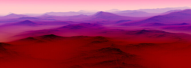 Aluminium Prints Magenta Sunrise over the Mountains