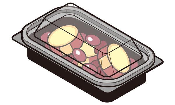 持ち帰りのフードパックに入った金時豆とさつまいもの甘煮