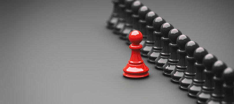 Leadership concept, red pawn of chess, standing out from the crowd of blacks, with empty space on left side. 3D Rendering