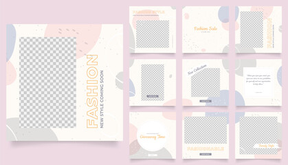social media template banner fashion sale promotion. fully editable instagram and facebook square post frame puzzle trendy sale poster. blue pink grey color vector background