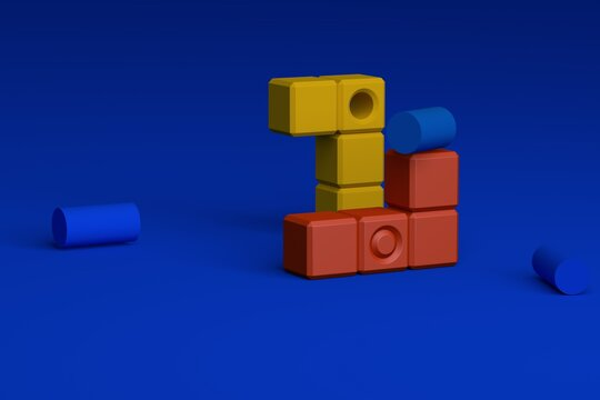 3d rendering modular system illustration