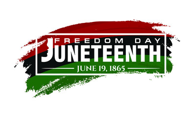 Juneteenth. June 19, 1865. Freedom, Emancipation, and Independence Day Ceremonial. Design of Banner and Flag. Vector logo Illustration.