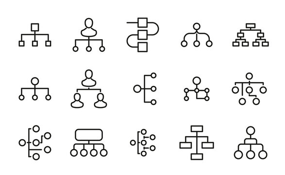 Simple set of hierarchy icons in trendy line style.