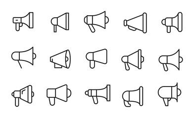 Icon set of megaphone.