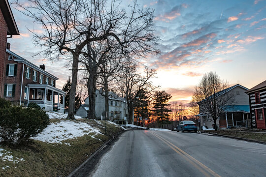 Historic Union Street looking west at sunset