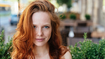 Photo Blinds Equestrian Young redhead woman looking at the camera