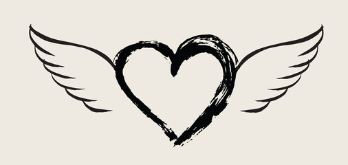 Heart with angel wings hand drawn vector illustration