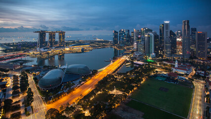 Fotomurales - Panorama of Singapore skyline, Marina bay - Aerial view