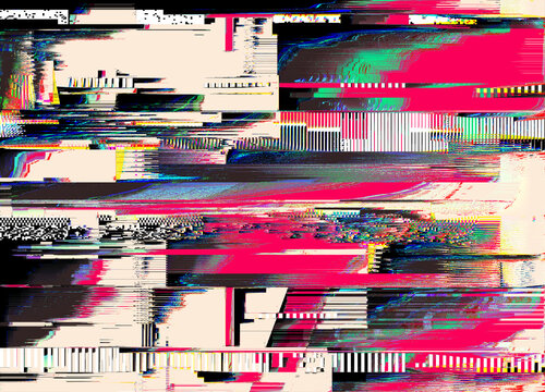 Digital glitched abstract texture of TV signal glitch error and pixel sorting effect in colorful psychedelic colors.