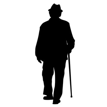 Silhouette of an old male walking with a cane isolated on a white background