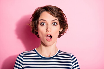Portrait of astonished crazy girl hear novelty impressed scream shout wear good look clothes isolated over pastel color background