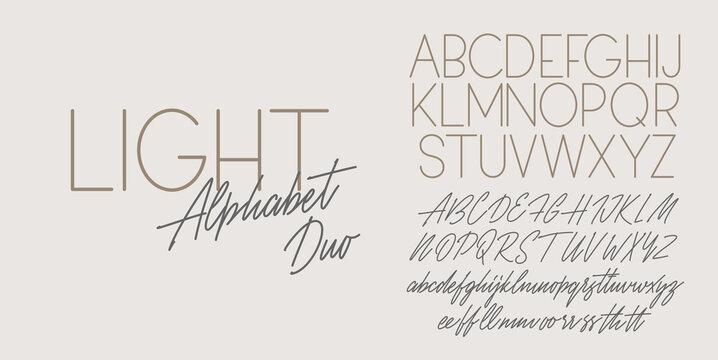 Script and sans light duo font design. Vector alphabets.
