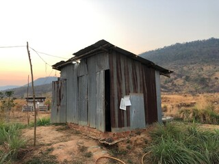 Corrugated-iron hut in Cambodia