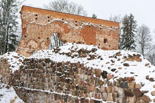 Medieval castle ruins on the Castle hill in Viljandi Estonia