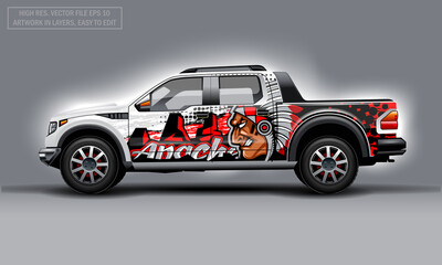 Editable template for wrap SUV with Indian profile man decal. Hi-res vector graphics.