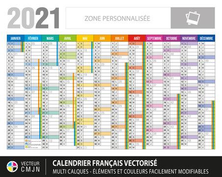 Calendrier français 2021. Planning avec vacances scolaires. Textes 100% vectorisés. Vecteur multi calques. Eléments et couleurs facilement modifiables et personnalisables