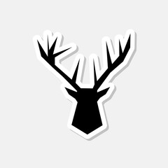 Deer Head Logo Sticker Design isolated on gray background