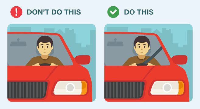 Wear seatbelts while driving. Wrong and right. Flat vector illustration.