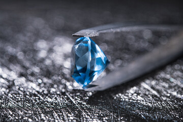 Closeup photo of blue natural diamond stone