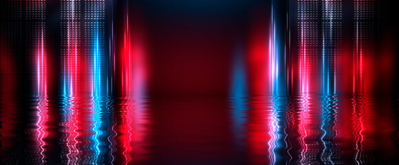 Fotomurales - Dark empty scene, blue neon searchlight light, wet asphalt, smoke, night view, rays. Reflection on the water, night view. Liquid. 3d illustration.