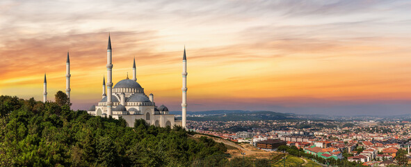 Camlica Mosque in Istanbul, Turkey, sunset view