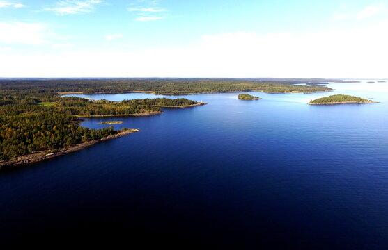 Aerial View of Great Lake Islands, Woods, Copyspace