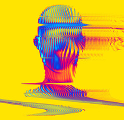 Fototapeta Glitch psychedelic colors line oscillator illustration of a human head from 3D rendering in the style of old vintage TV monitors or VHS tapes. obraz